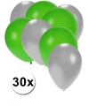 Party ballonnen zilver en groen