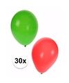 Kerst decoratie ballonnen 30 stuks rood en groen