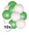 Feestartikelen lampionnen groen/witte 10x